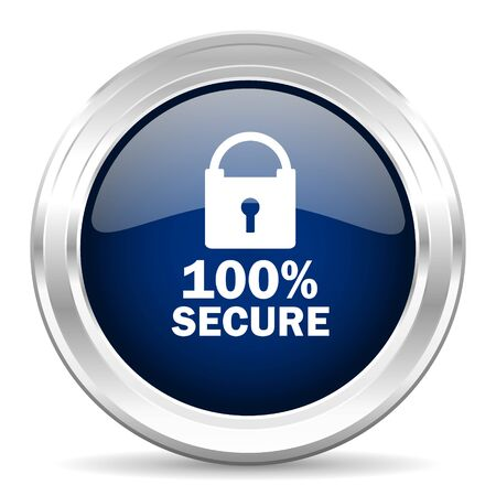 trusty: secure cirle glossy dark blue web icon on white background Stock Photo