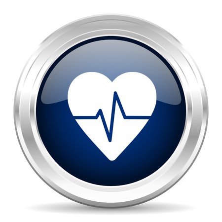 cardiograph: pulse cirle glossy dark blue web icon on white background