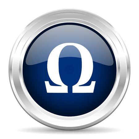 antioxidant: omega cirle glossy dark blue web icon on white background