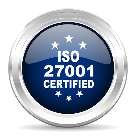 information systems: iso 27001 cirle glossy dark blue web icon on white background