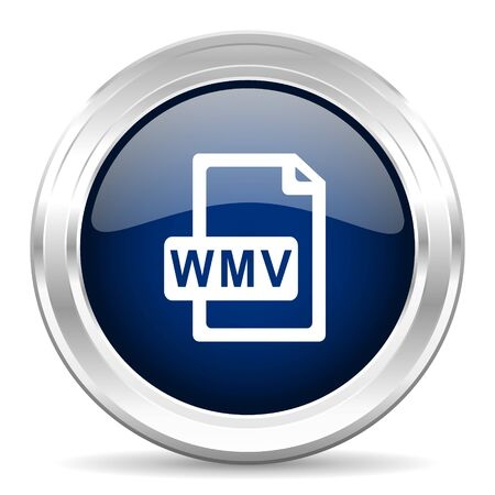 wmv: wmv file cirle glossy dark blue web icon on white background Stock Photo