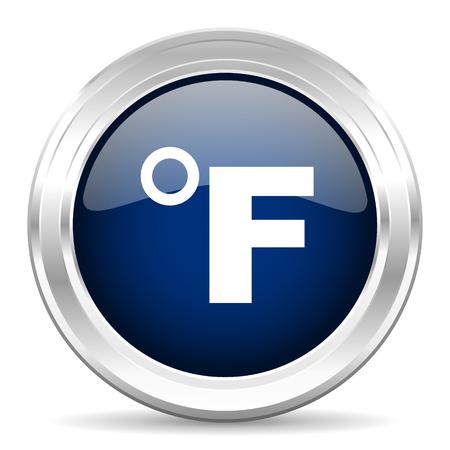 fahrenheit: fahrenheit cirle glossy dark blue web icon on white background