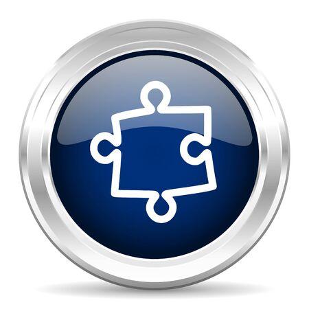 plugin: puzzle cirle glossy dark blue web icon on white background