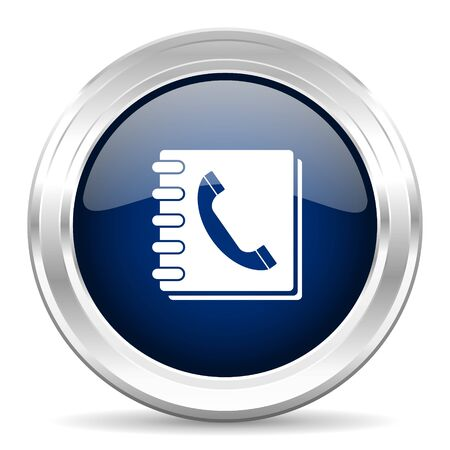 phonebook: phonebook cirle glossy dark blue web icon on white background