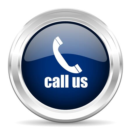 call us: call us cirle glossy dark blue web icon on white background Stock Photo