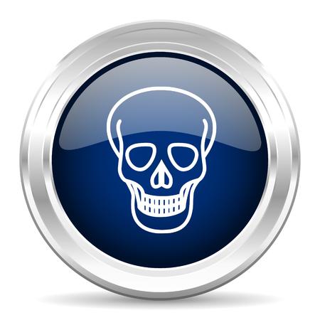 pirating: skull cirle glossy dark blue web icon on white background