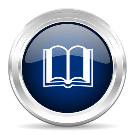 guestbook: book cirle glossy dark blue web icon on white background Stock Photo