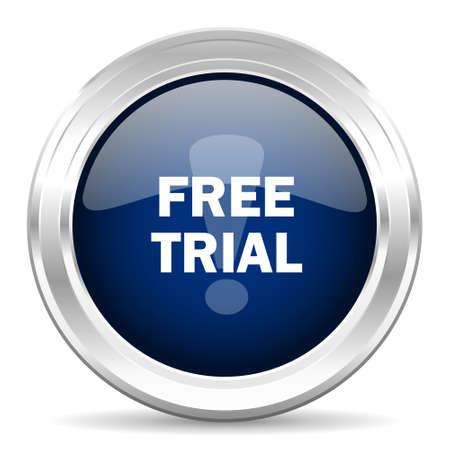 free trial cirle glossy dark blue web icon on white background