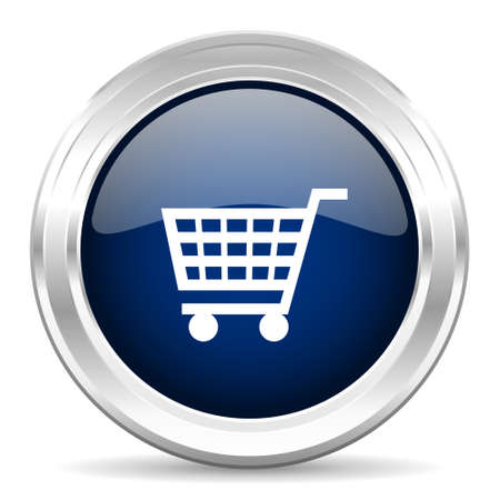 buy button: cart cirle glossy dark blue web icon on white background