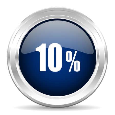 commission: 10 percent cirle glossy dark blue web icon on white background Stock Photo