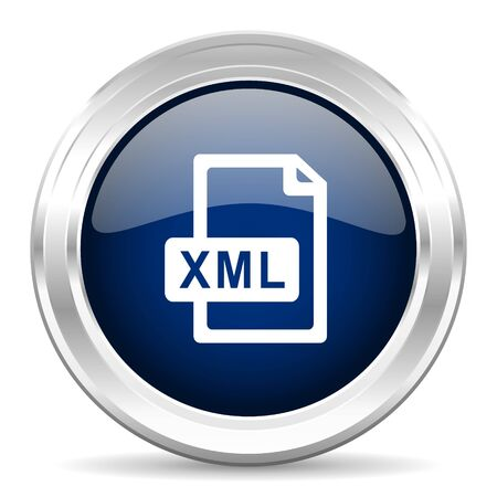 xml: xml file cirle glossy dark blue web icon on white background