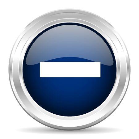 subtract: minus cirle glossy dark blue web icon on white background