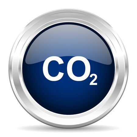 carbon dioxide: carbon dioxide cirle glossy dark blue web icon on white background