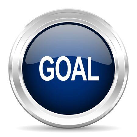 interface scheme: goal cirle glossy dark blue web icon on white background