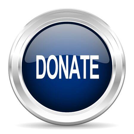 contribute: donate cirle glossy dark blue web icon on white background