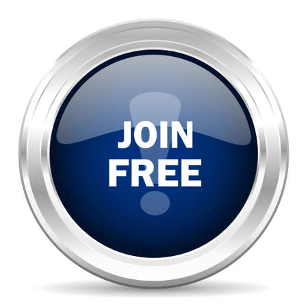 join here: join free cirle glossy dark blue web icon on white background