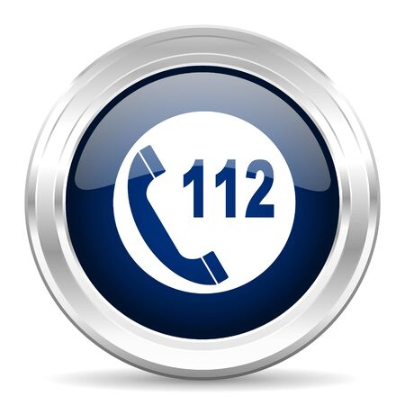 regard: emergency call cirle glossy dark blue web icon on white background