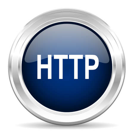 http: http cirle glossy dark blue web icon on white background Stock Photo