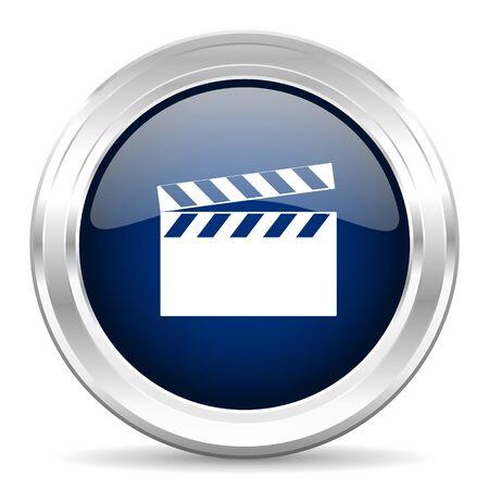 blue icon: video cirle glossy dark blue web icon on white background Stock Photo