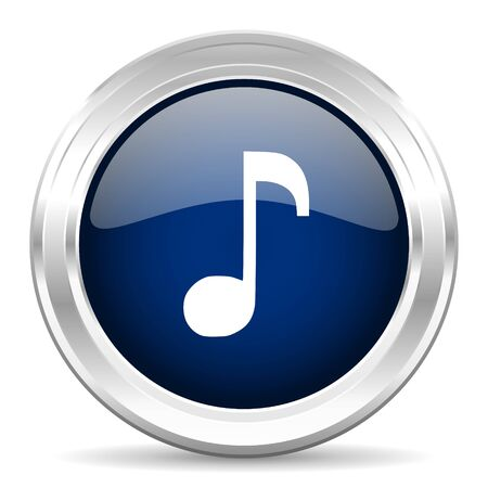 melodic: music cirle glossy dark blue web icon on white background