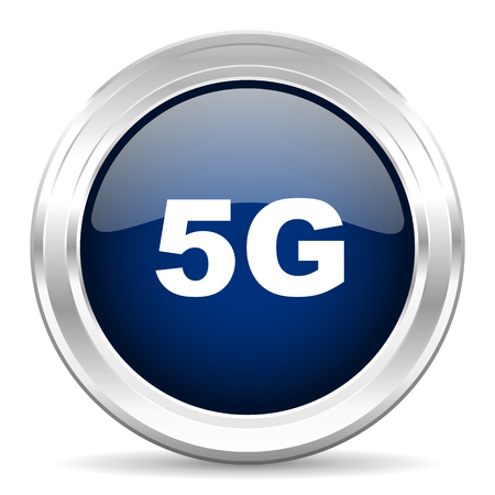 5g: 5g cirle glossy dark blue web icon on white background Stock Photo