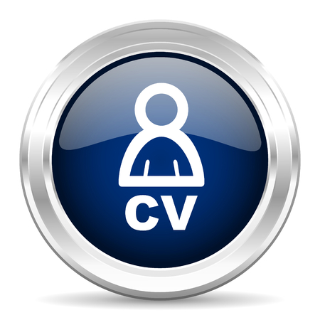job descriptions: cv cirle glossy dark blue web icon on white background