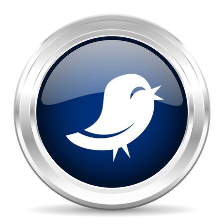 button icon: twitter cirle glossy dark blue web icon on white background