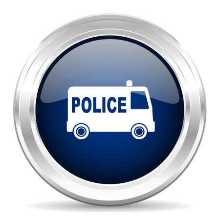 highway patrol: police cirle glossy dark blue web icon on white background