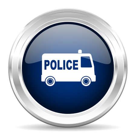 patrolman: police cirle glossy dark blue web icon on white background