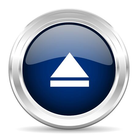 eject icon: eject cirle glossy dark blue web icon on white background Stock Photo