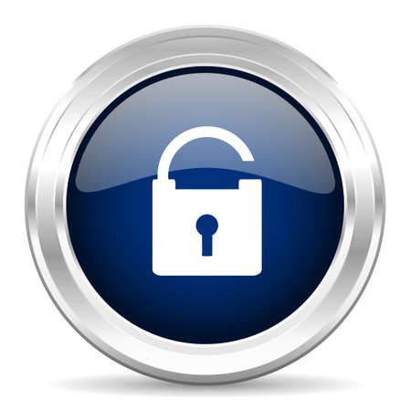 trusty: padlock cirle glossy dark blue web icon on white background