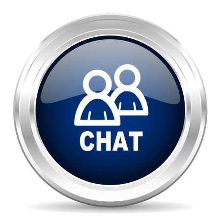 people discuss: chat cirle glossy dark blue web icon on white background
