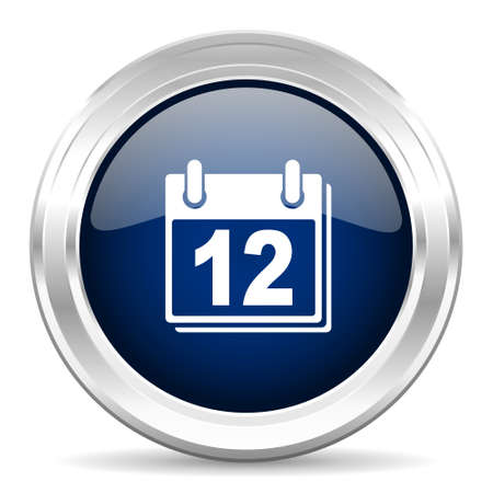 appointment book: calendar cirle glossy dark blue web icon on white background