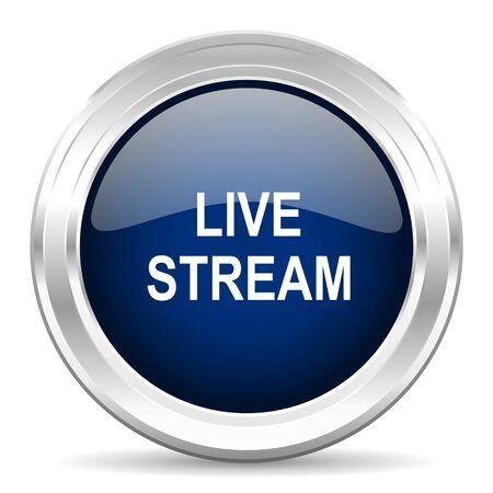 livestream: live stream cirle glossy dark blue web icon on white background