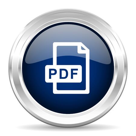 bibliography: pdf file cirle glossy dark blue web icon on white background