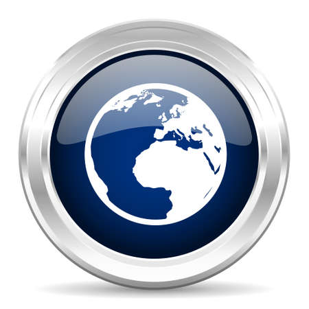 meridian: earth cirle glossy dark blue web icon on white background