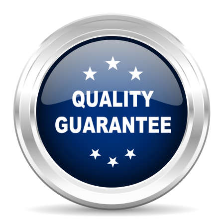 quality guarantee: quality guarantee cirle glossy dark blue web icon on white background