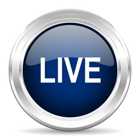 news cast: live cirle glossy dark blue web icon on white background Stock Photo