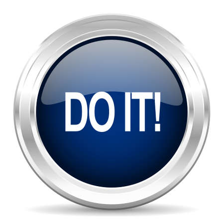 just do it: do it cirle glossy dark blue web icon on white background Stock Photo