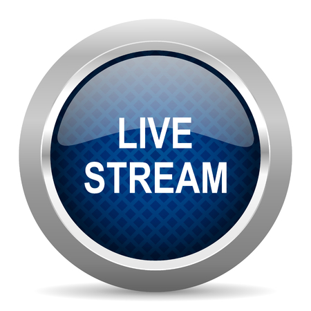 live stream: live stream blue circle glossy web icon on white background, round button for internet and mobile app