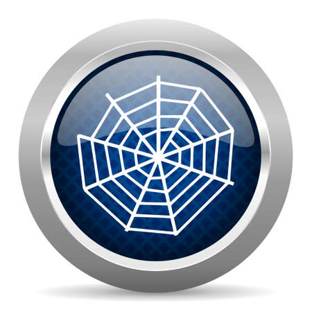 spider web: spider web blue circle glossy web icon on white background, round button for internet and mobile app