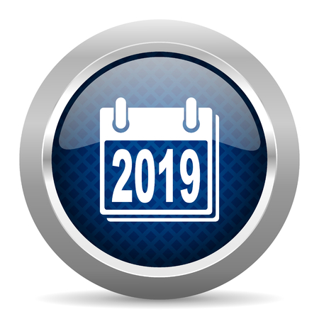 new beginnings: new year 2019 blue circle glossy web icon on white background, round button for internet and mobile app