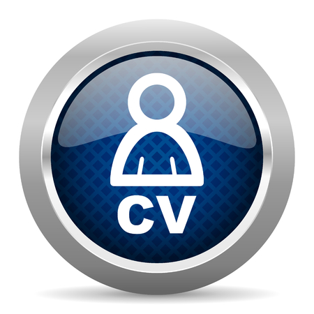 job descriptions: cv blue circle glossy web icon on white background, round button for internet and mobile app