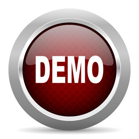 demo: demo red glossy web icon Stock Photo