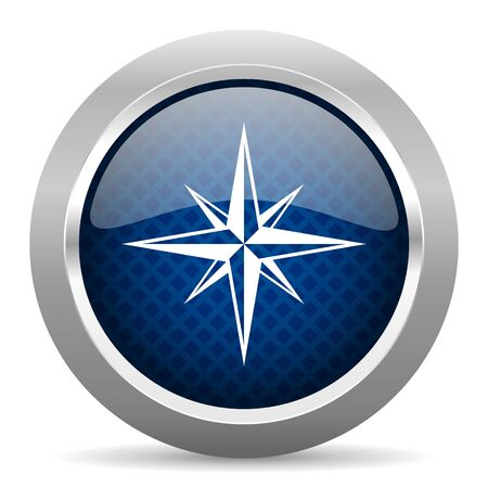 geodesy: compass blue circle glossy web icon on white background, round button for internet and mobile app