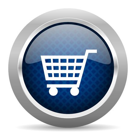 chrome cart: cart blue circle glossy web icon on white background, round button for internet and mobile app