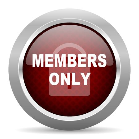 members only: members only red glossy web icon