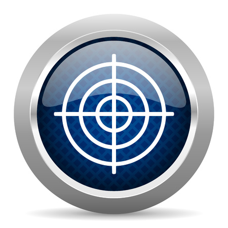 arrow target: target blue circle glossy web icon on white background, round button for internet and mobile app Stock Photo
