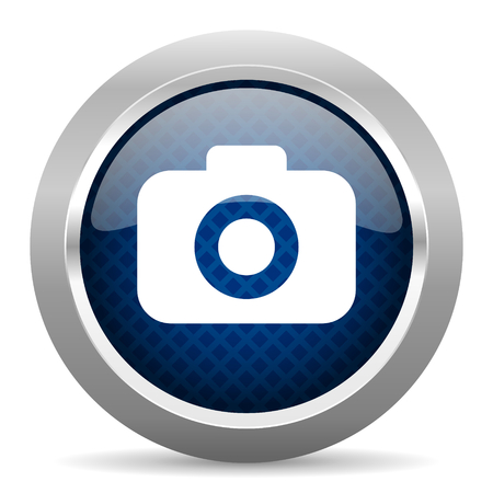 picto: photo camera blue circle glossy web icon on white background, round button for internet and mobile app