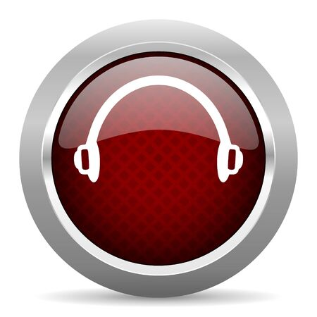 telemarketer: headphones red glossy web icon